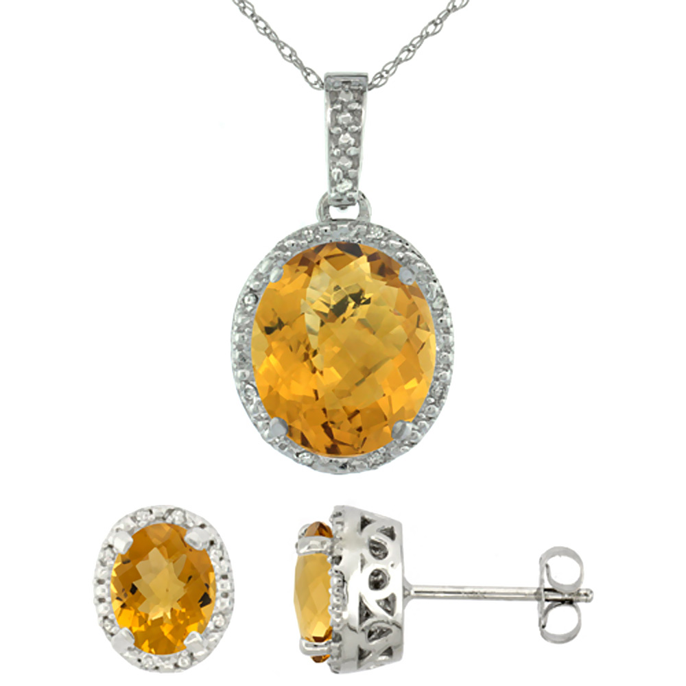 10K White Gold Diamond Halo Natural Whisky Quartz Earrings Necklace Set Oval 7x5mm & 12x10mm, 18 inch