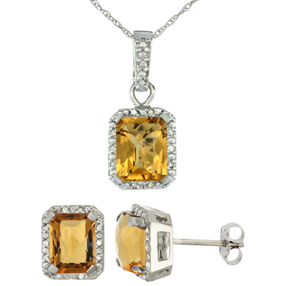 10K White Gold Natural Octagon 8x6 mm Whisky Quartz Earrings & Pendant Set Diamond Accents