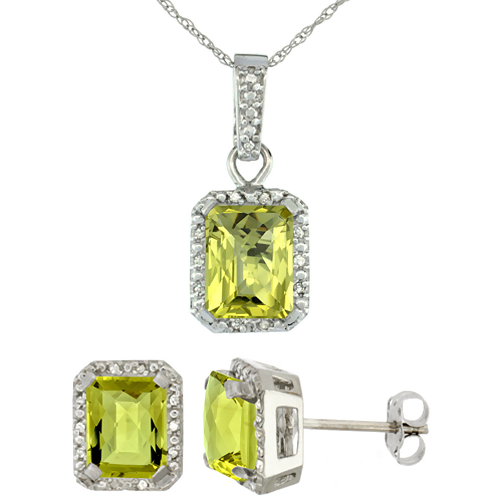 10K White Gold Natural Octagon 8x6 mm Lemon Quartz Earrings & Pendant Set Diamond Accents