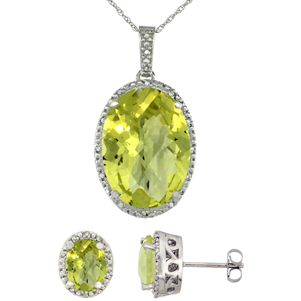 10K White Gold Diamond Natural Oval Lemon Quartz Earrings & Pendant Set
