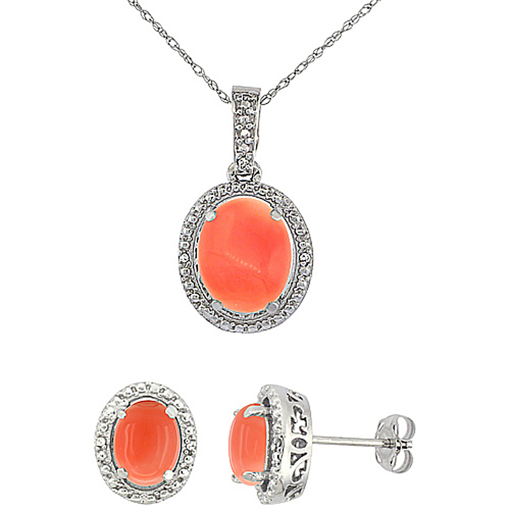 10K White Gold Diamond Natural Coral Oval Earrings & Pendant Set