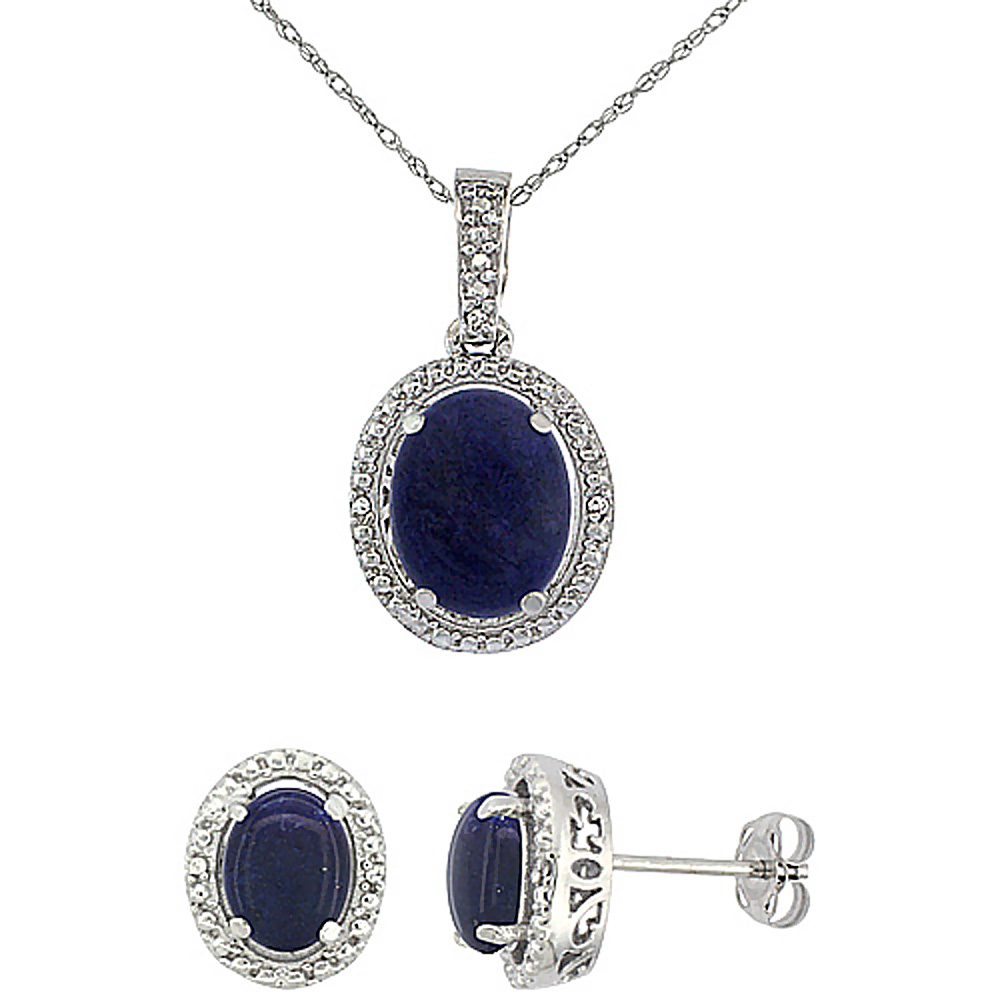 10K White Gold Diamond Natural Lapis Oval Earrings & Pendant Set