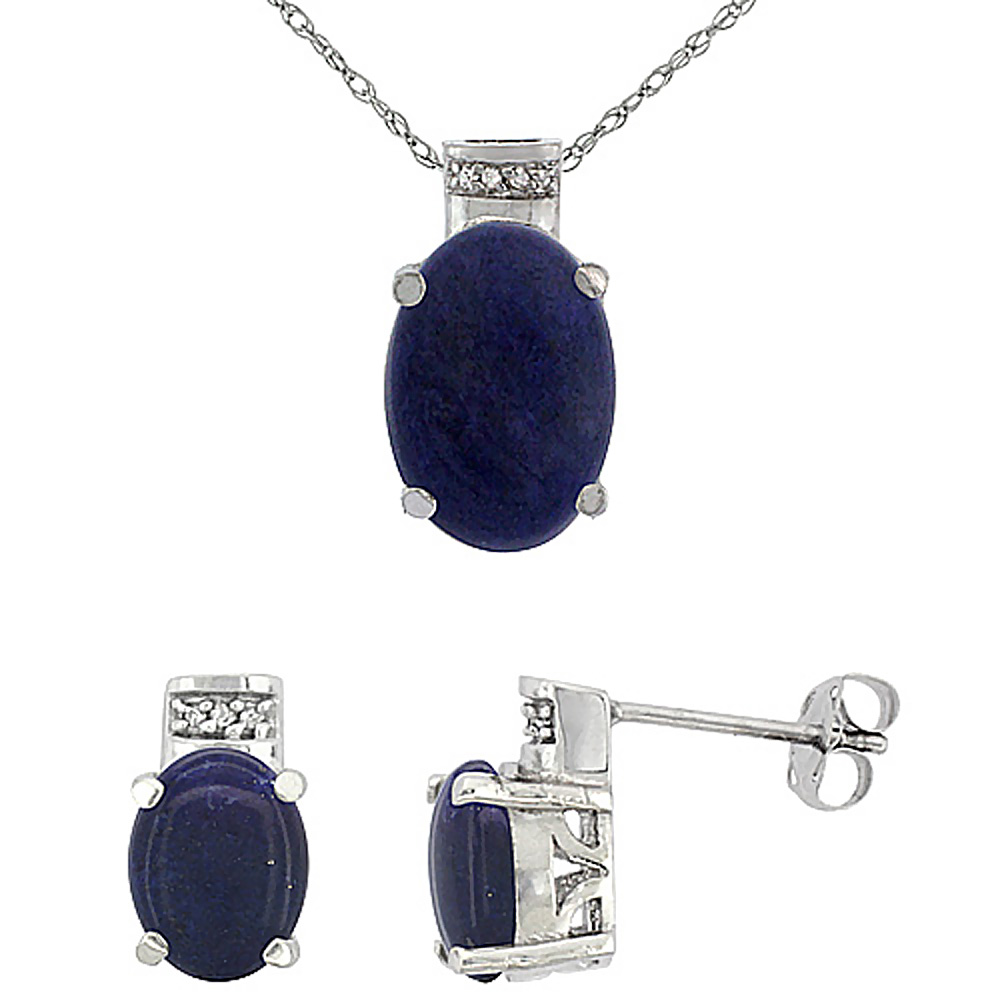 10K White Gold Diamond Natural Oval Lapis Earrings & Pendant Set