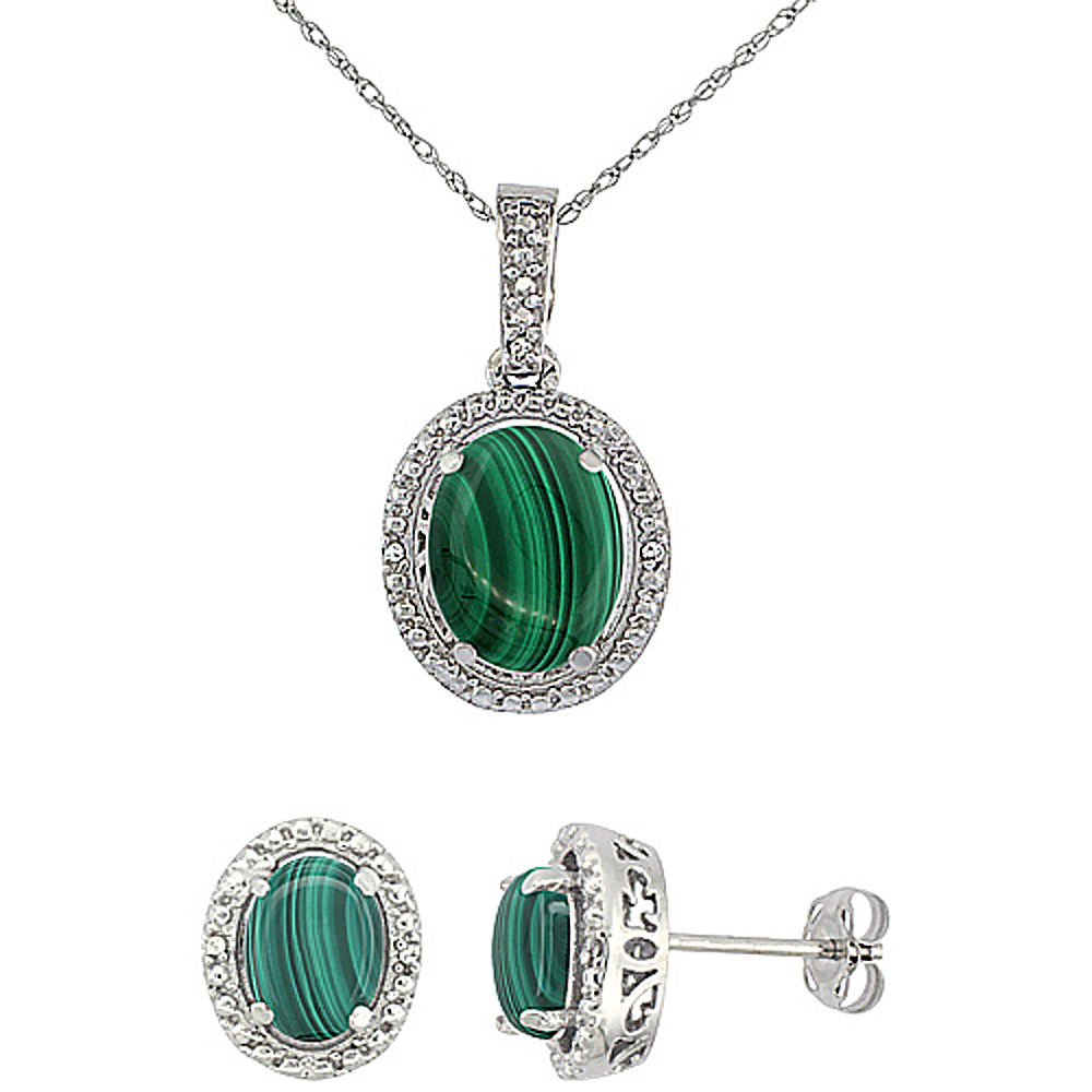 10K White Gold Diamond Natural Malachite Oval Earrings & Pendant Set