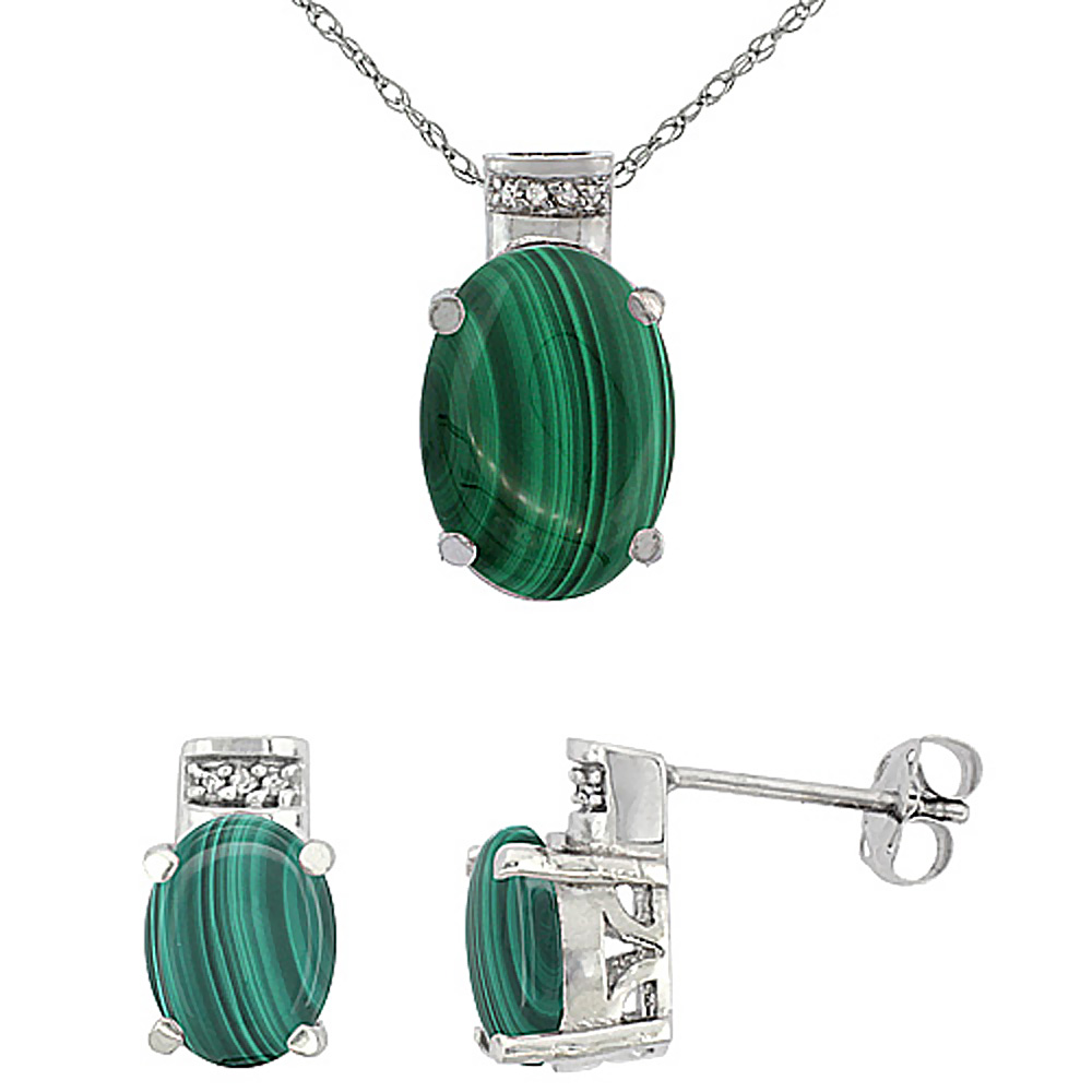 10K White Gold Diamond Natural Oval Malachite Earrings & Pendant Set