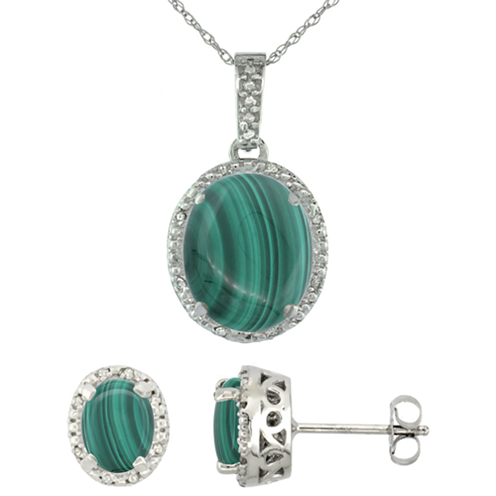 10K White Gold Diamond Halo Natural Malachite Earrings Necklace Set Oval 7x5mm & 12x10mm, 18 inch