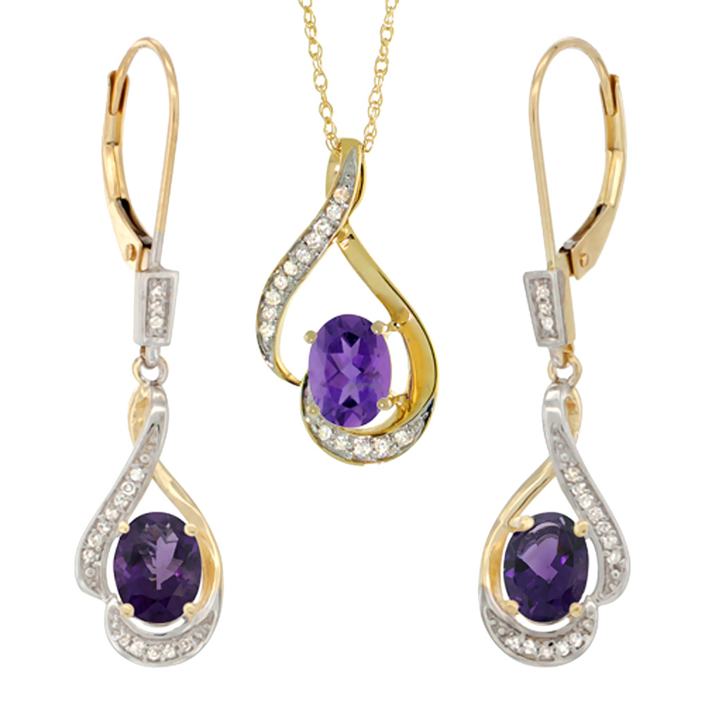 14K Yellow Gold Diamond Natural Amethyst Lever Back Earrings & Necklace Set Oval 7x5mm, 18 inch long