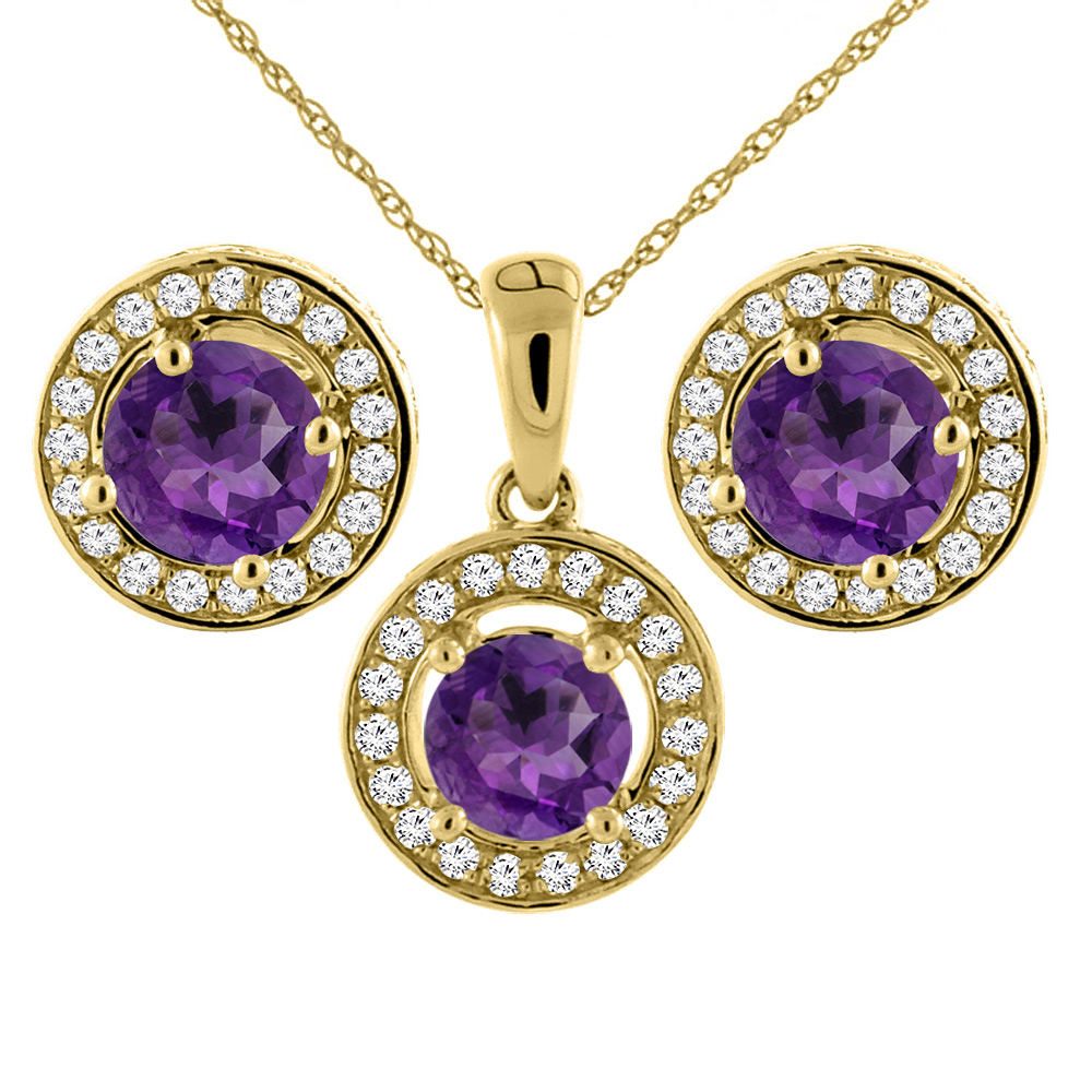14K Yellow Gold Natural Amethyst Earrings and Pendant Set with Diamond Halo Round 5 mm