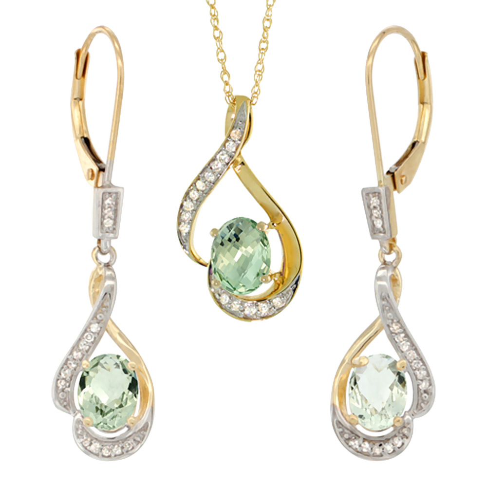 14K Yellow Gold Diamond Natural Green Amethyst Lever Back Earrings Necklace Set Oval 7x5mm, 18 inch long