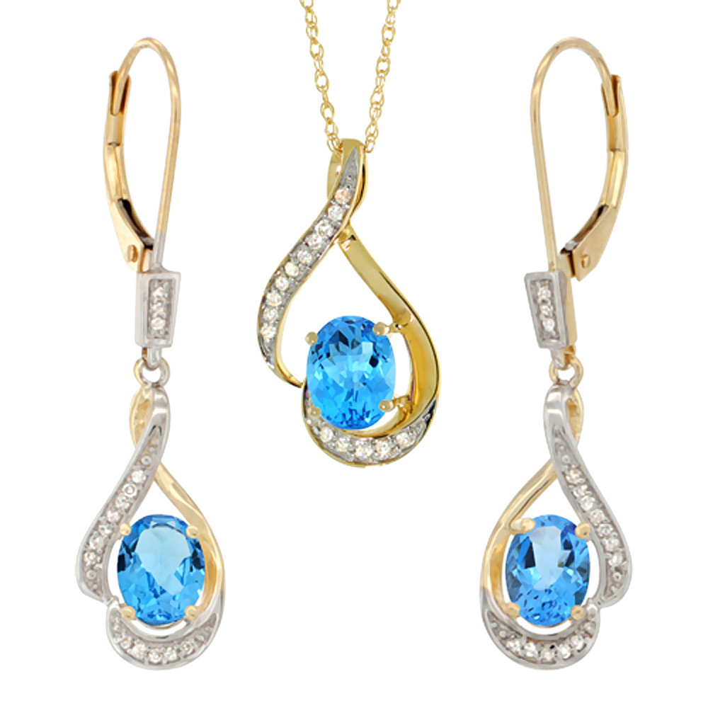 14K Yellow Gold Natural Swiss Blue Topaz Lever Back Earrings & Pendant Set Diamond Accent