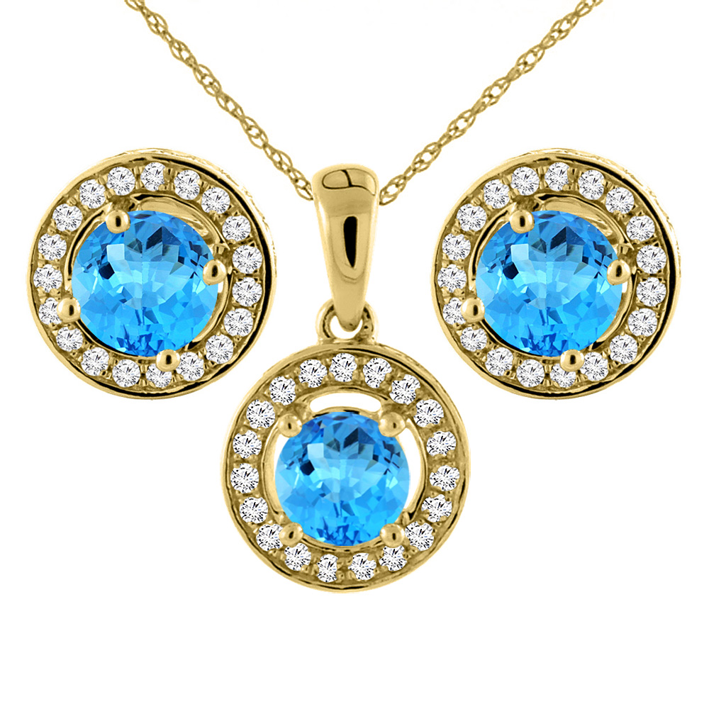 14K Yellow Gold Natural Swiss Blue Topaz Earrings and Pendant Set with Diamond Halo Round 5 mm