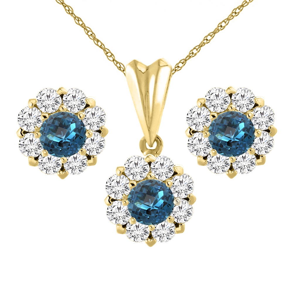 14K Yellow Gold Natural London Blue Topaz Earrings and Pendant Set with Diamond Halo Round 6 mm