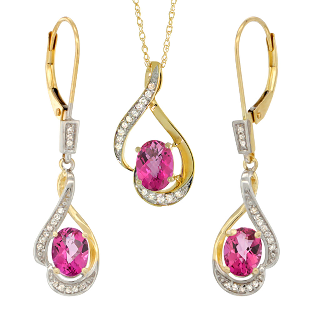 14K Yellow Gold Diamond Natural Pink Topaz Lever Back Earrings & Necklace Set Oval 7x5mm, 18 inch long