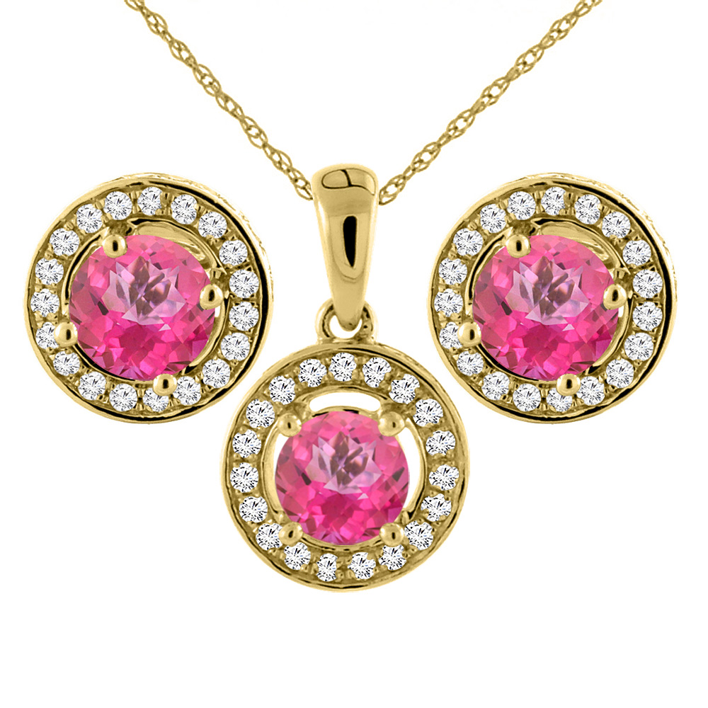 14K Yellow Gold Natural Pink Topaz Earrings and Pendant Set with Diamond Halo Round 5 mm