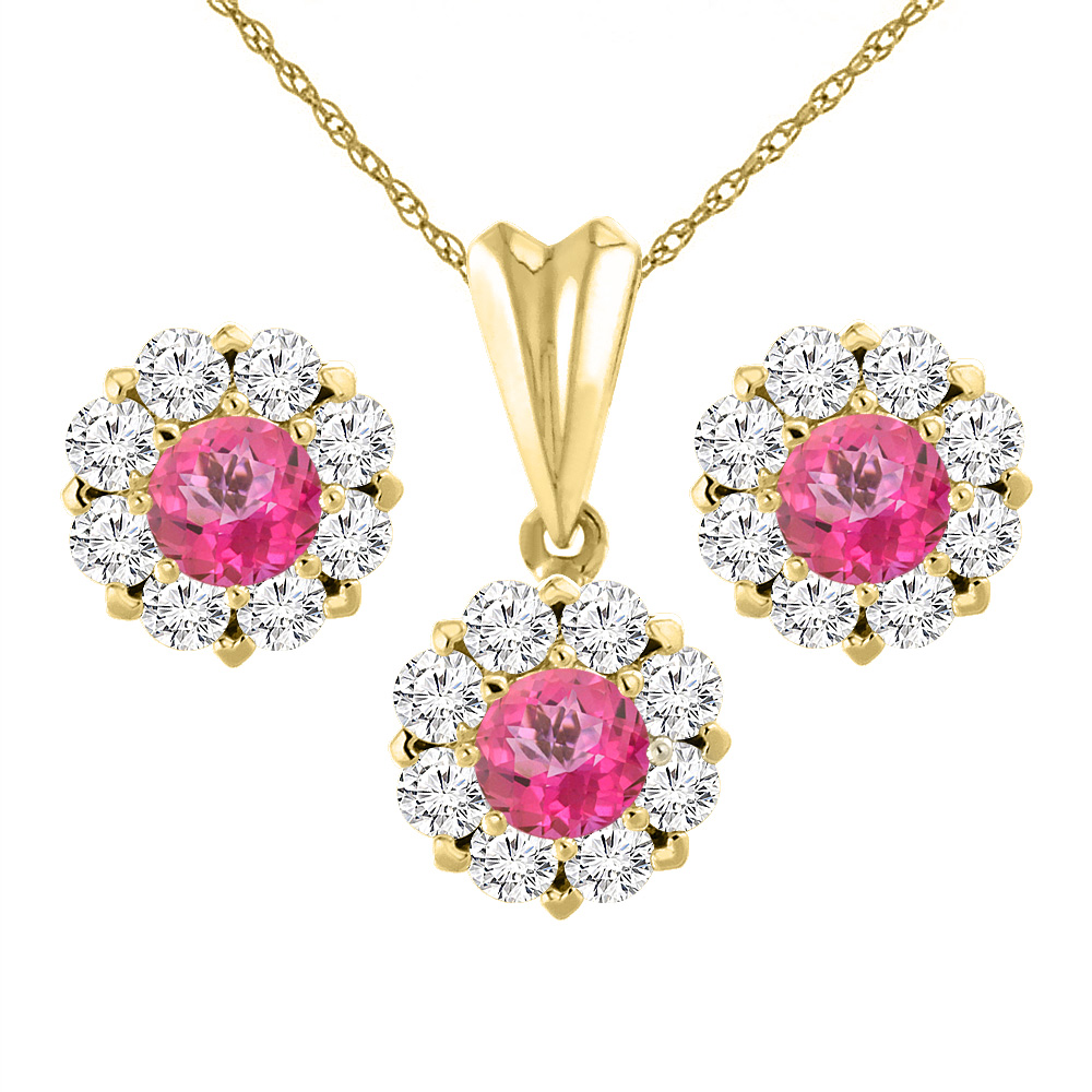 14K Yellow Gold Natural Pink Topaz Earrings and Pendant Set with Diamond Halo Round 6 mm