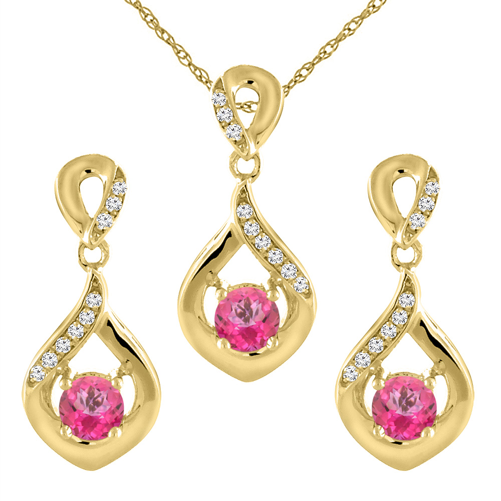 14K Yellow Gold Natural Pink Topaz Earrings and Pendant Set with Diamond Accents Round 4 mm
