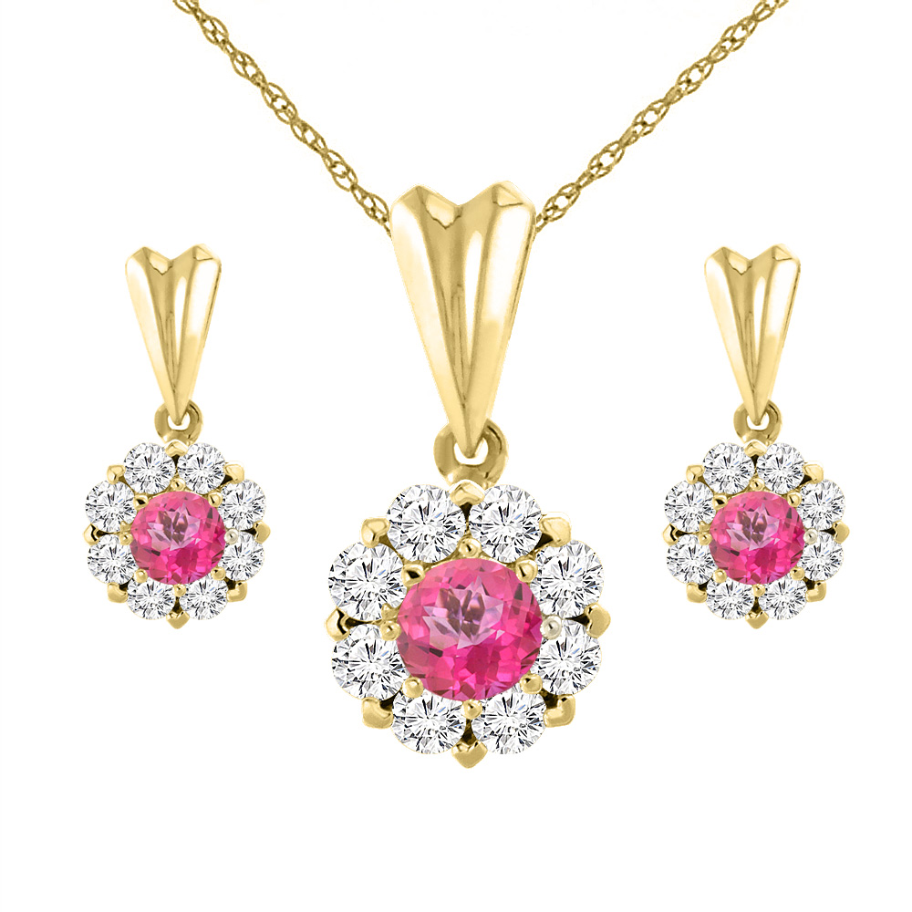 14K Yellow Gold Natural Pink Topaz Earrings and Pendant Set with Diamond Halo Round 4 mm