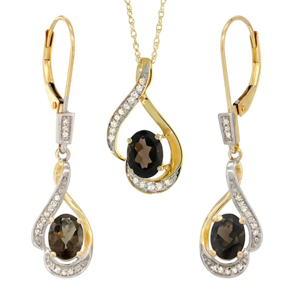 14K Yellow Gold Diamond Natural Smoky Topaz Lever Back Earrings & Necklace Set Oval 7x5mm, 18 inch long