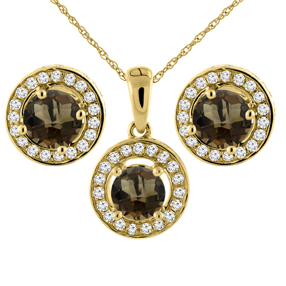 14K Yellow Gold Natural Smoky Topaz Earrings and Pendant Set with Diamond Halo Round 5 mm