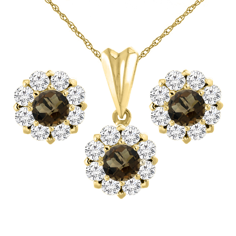 14K Yellow Gold Natural Smoky Topaz Earrings and Pendant Set with Diamond Halo Round 6 mm