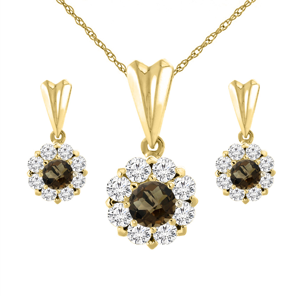 14K Yellow Gold Natural Smoky Topaz Earrings and Pendant Set with Diamond Halo Round 4 mm