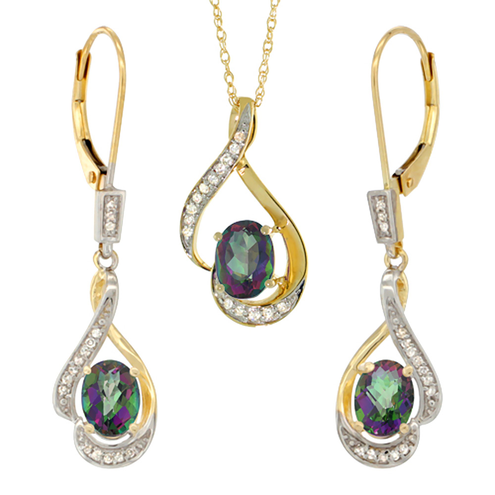14K Yellow Gold Diamond Natural Mystic Topaz Lever Back Earrings & Necklace Set Oval 7x5mm, 18 inch long