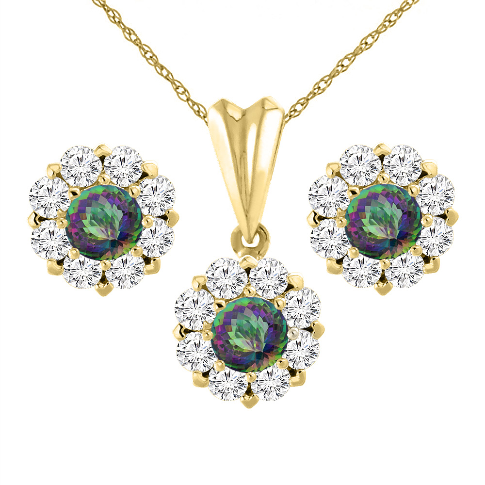 14K Yellow Gold Natural Mystic Topaz Earrings and Pendant Set with Diamond Halo Round 6 mm