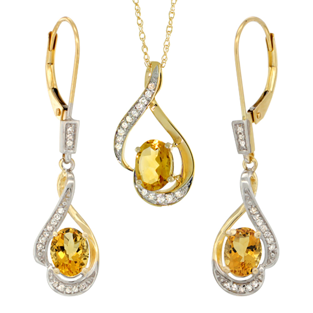 14K Yellow Gold Diamond Natural Citrine Lever Back Earrings & Necklace Set Oval 7x5mm, 18 inch long