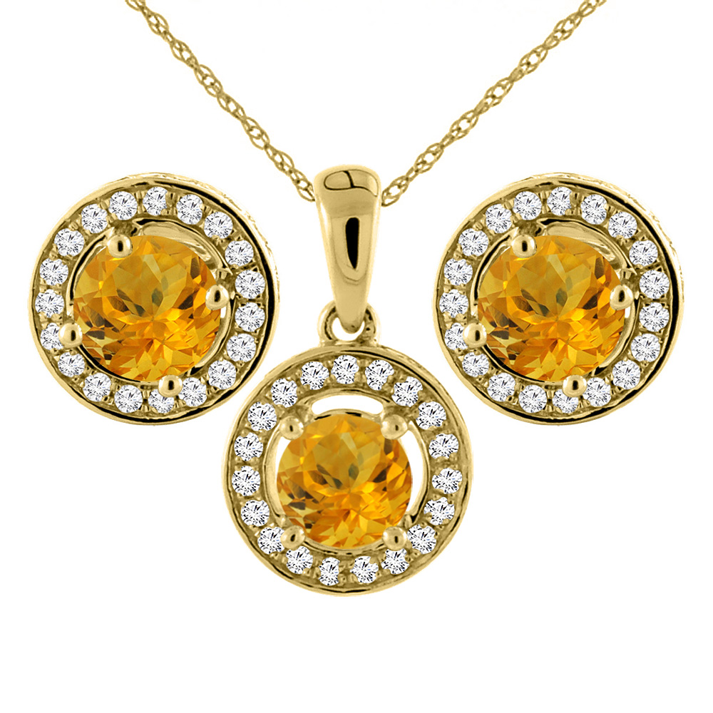 14K Yellow Gold Natural Citrine Earrings and Pendant Set with Diamond Halo Round 5 mm