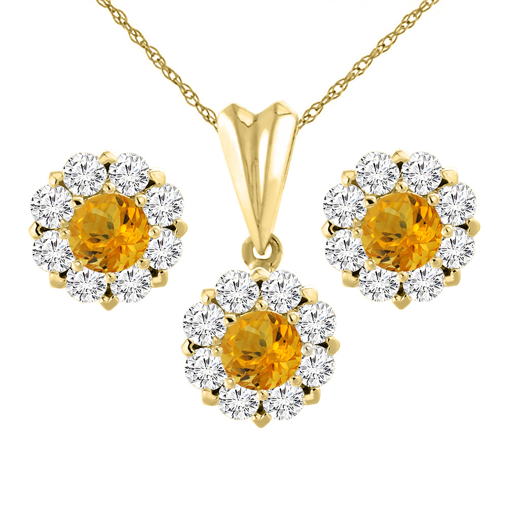 14K Yellow Gold Natural Citrine Earrings and Pendant Set with Diamond Halo Round 6 mm