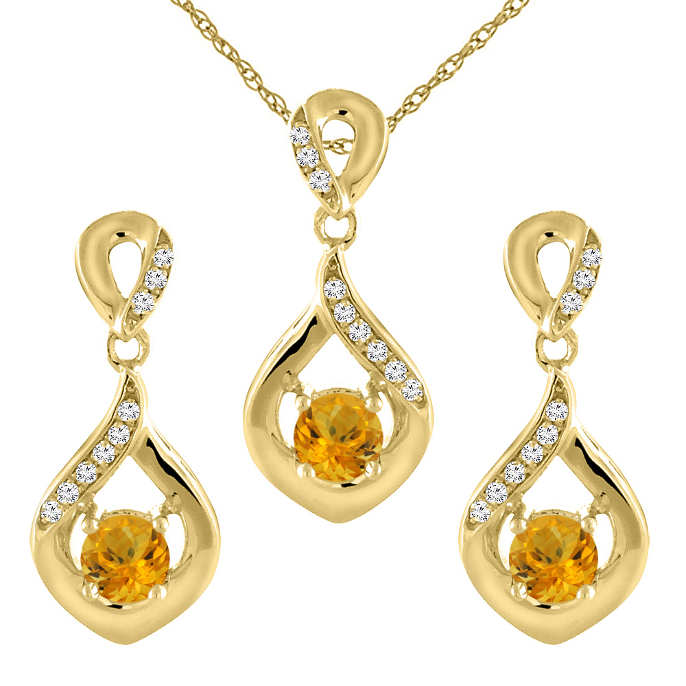 14K Yellow Gold Natural Citrine Earrings and Pendant Set with Diamond Accents Round 4 mm