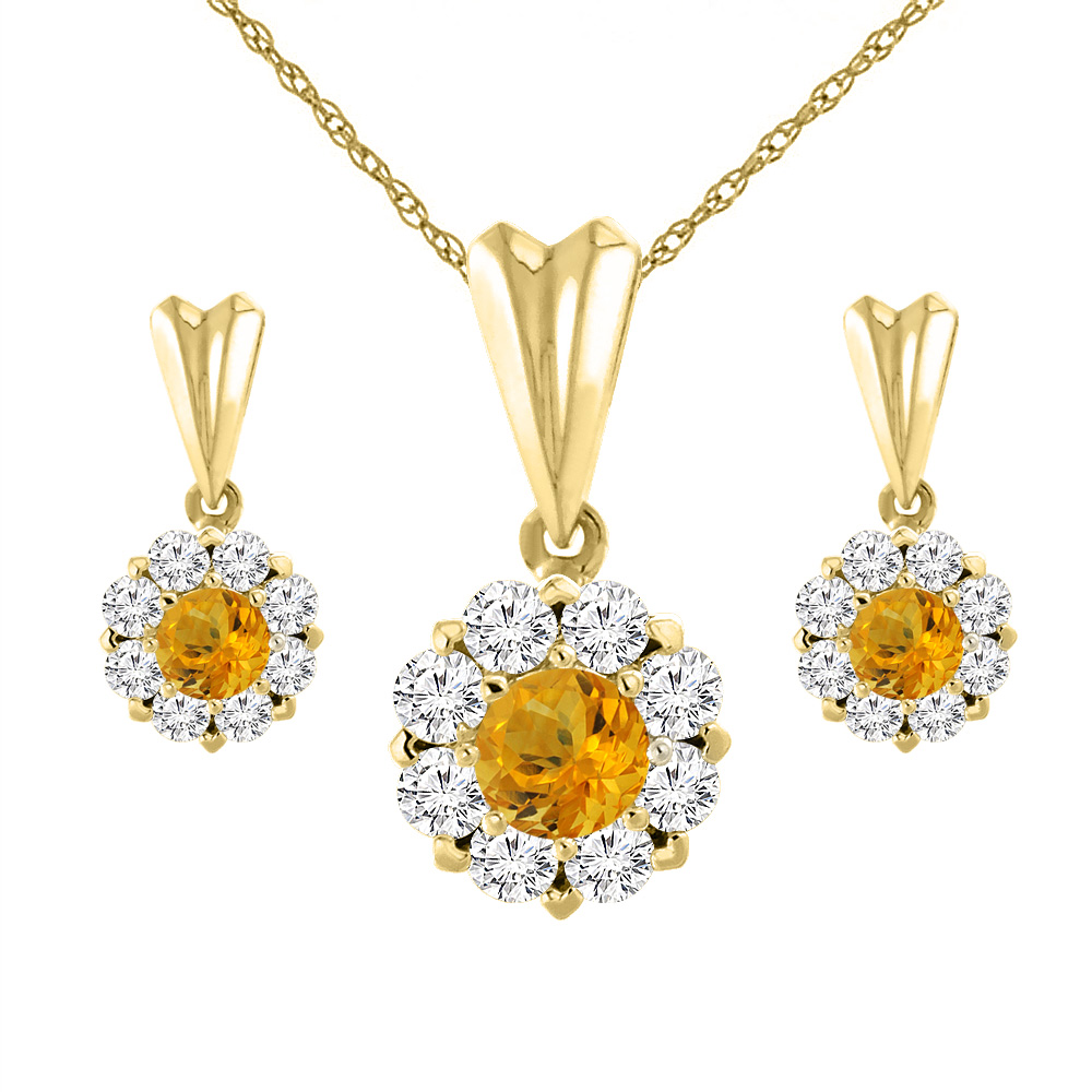 14K Yellow Gold Natural Citrine Earrings and Pendant Set with Diamond Halo Round 4 mm