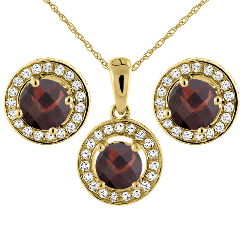 14K Yellow Gold Natural Garnet Earrings and Pendant Set with Diamond Halo Round 5 mm