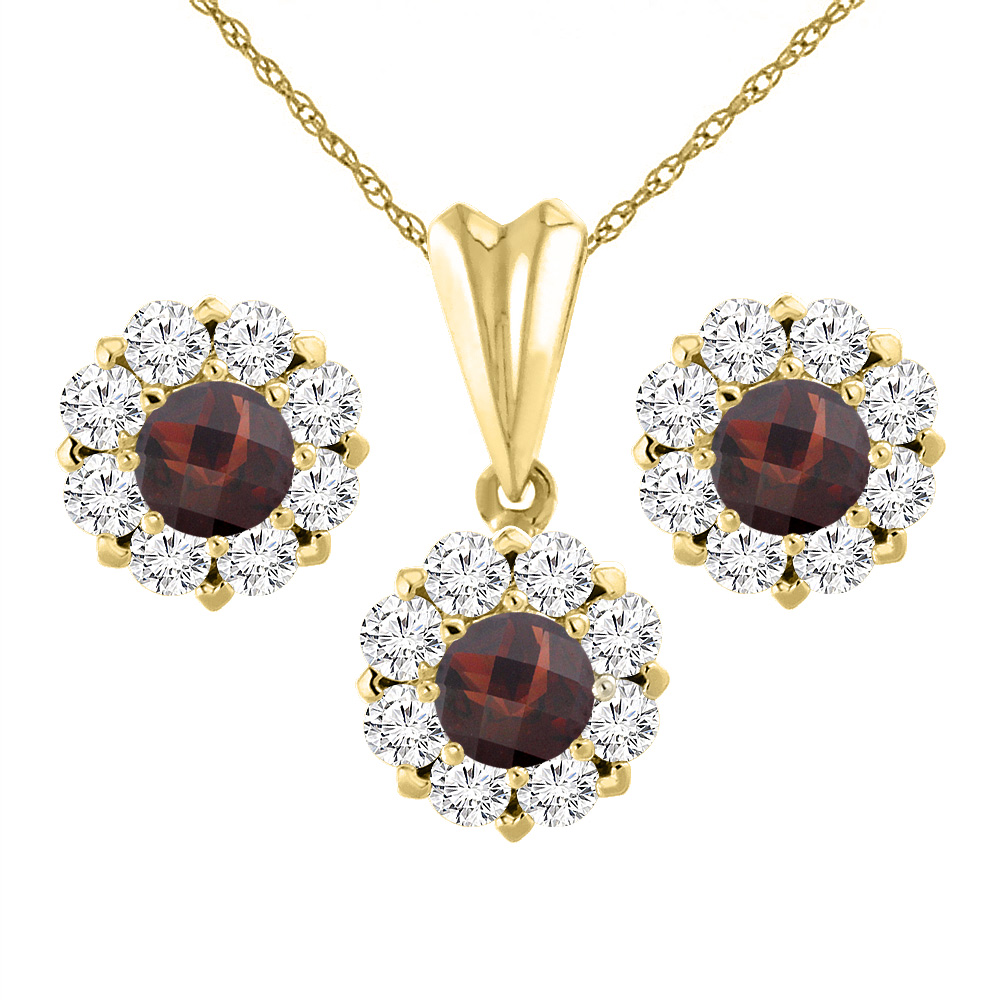 14K Yellow Gold Natural Garnet Earrings and Pendant Set with Diamond Halo Round 6 mm