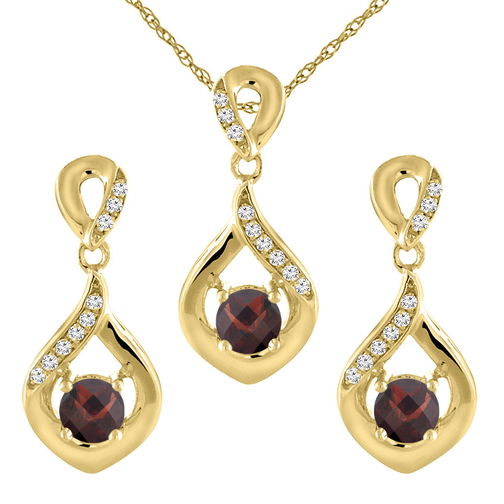 14K Yellow Gold Natural Garnet Earrings and Pendant Set with Diamond Accents Round 4 mm