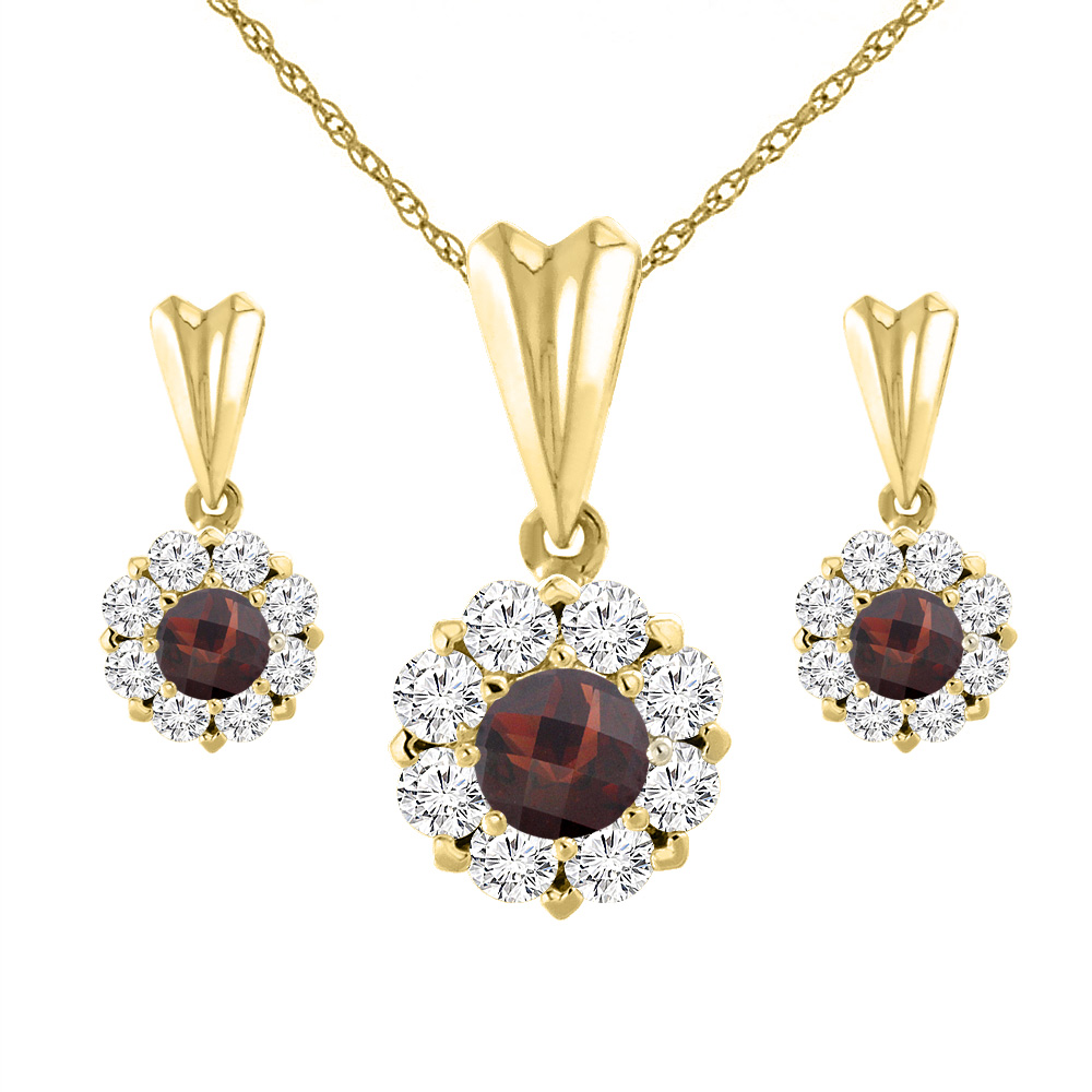 14K Yellow Gold Natural Garnet Earrings and Pendant Set with Diamond Halo Round 4 mm