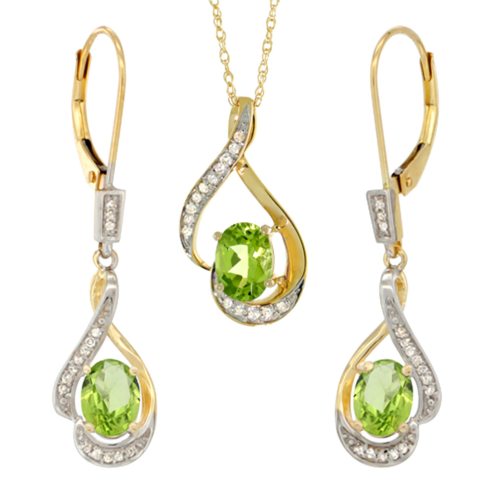 14K Yellow Gold Natural Peridot Lever Back Earrings & Pendant Set Diamond Accent