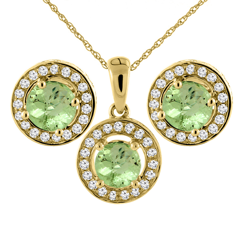 14K Yellow Gold Natural Peridot Earrings and Pendant Set with Diamond Halo Round 5 mm