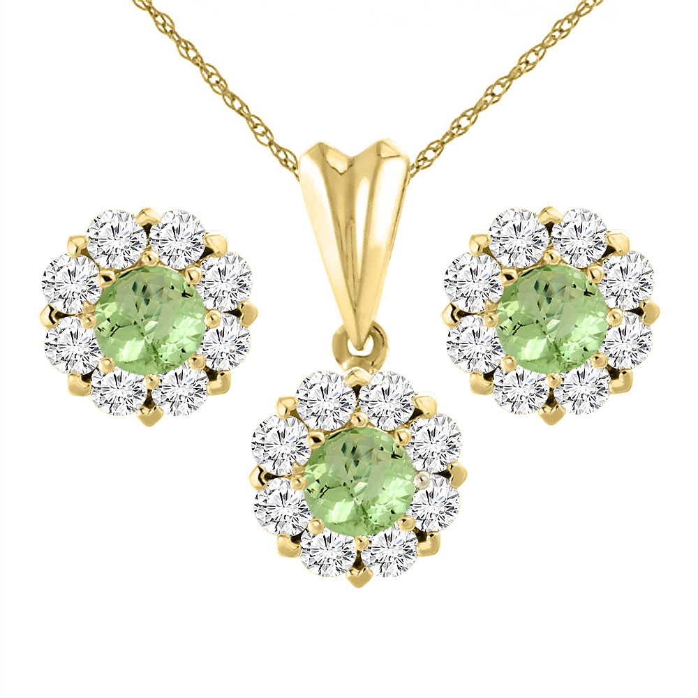 14K Yellow Gold Natural Peridot Earrings and Pendant Set with Diamond Halo Round 6 mm