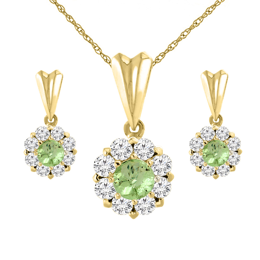 14K Yellow Gold Natural Peridot Earrings and Pendant Set with Diamond Halo Round 4 mm