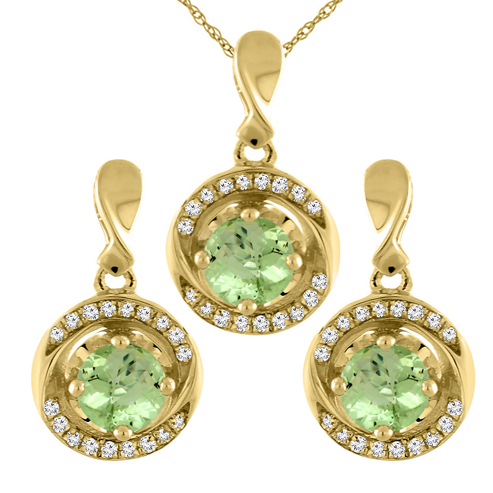 14K Yellow Gold Natural Peridot Earrings and Pendant Set with Diamond Accents Round 4 mm