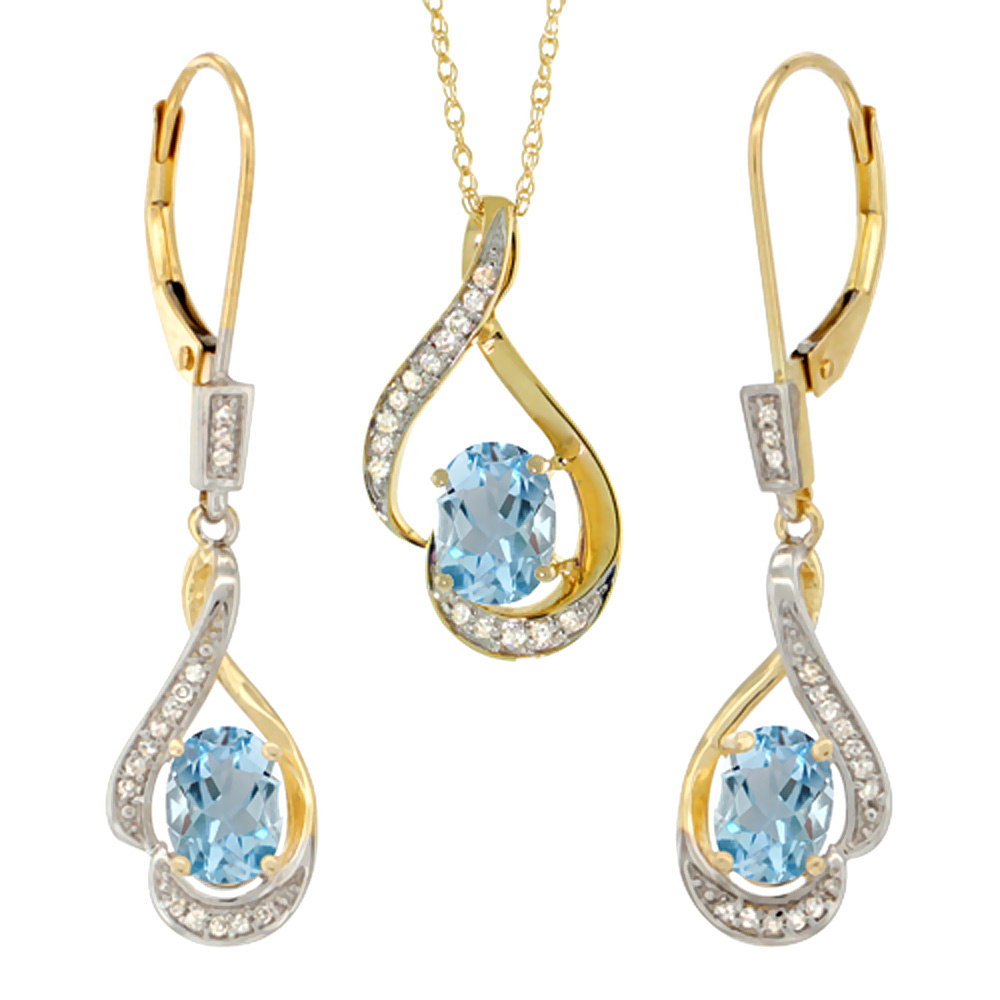 14K Yellow Gold Diamond Natural Aquamarine Lever Back Earrings & Necklace Set Oval 7x5mm, 18 inch long