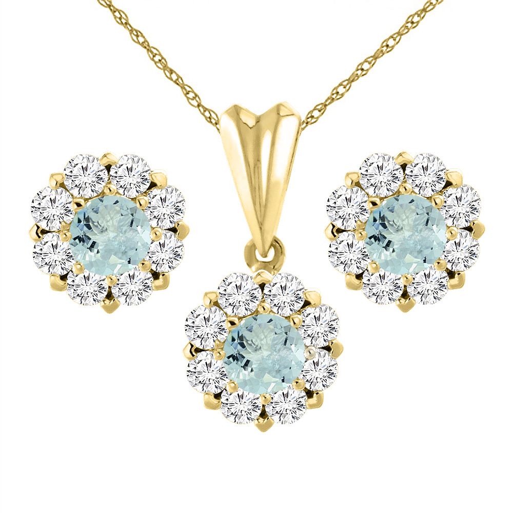14K Yellow Gold Natural Aquamarine Earrings and Pendant Set with Diamond Halo Round 6 mm