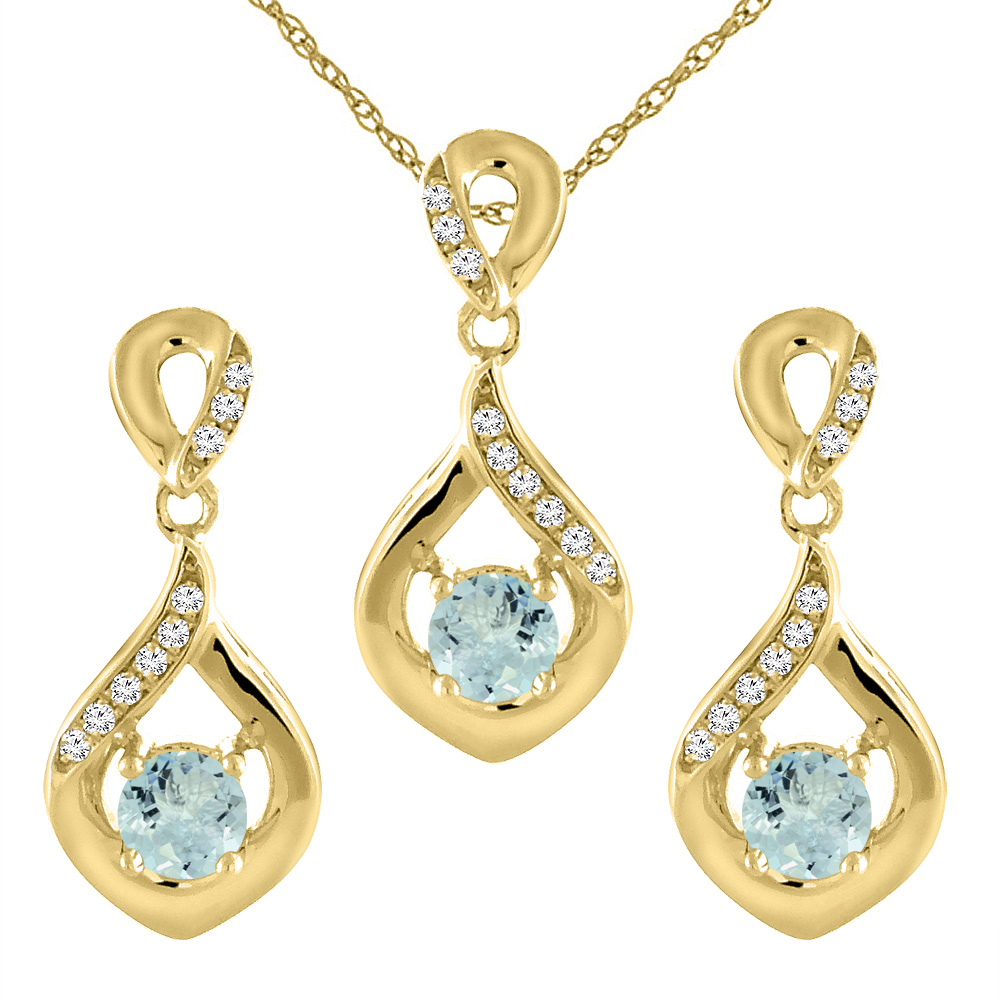 14K Yellow Gold Natural Aquamarine Earrings and Pendant Set with Diamond Accents Round 4 mm