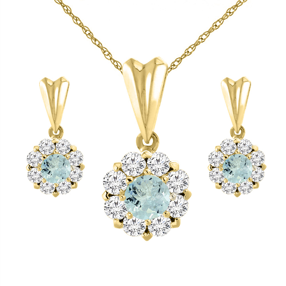 14K Yellow Gold Natural Aquamarine Earrings and Pendant Set with Diamond Halo Round 4 mm