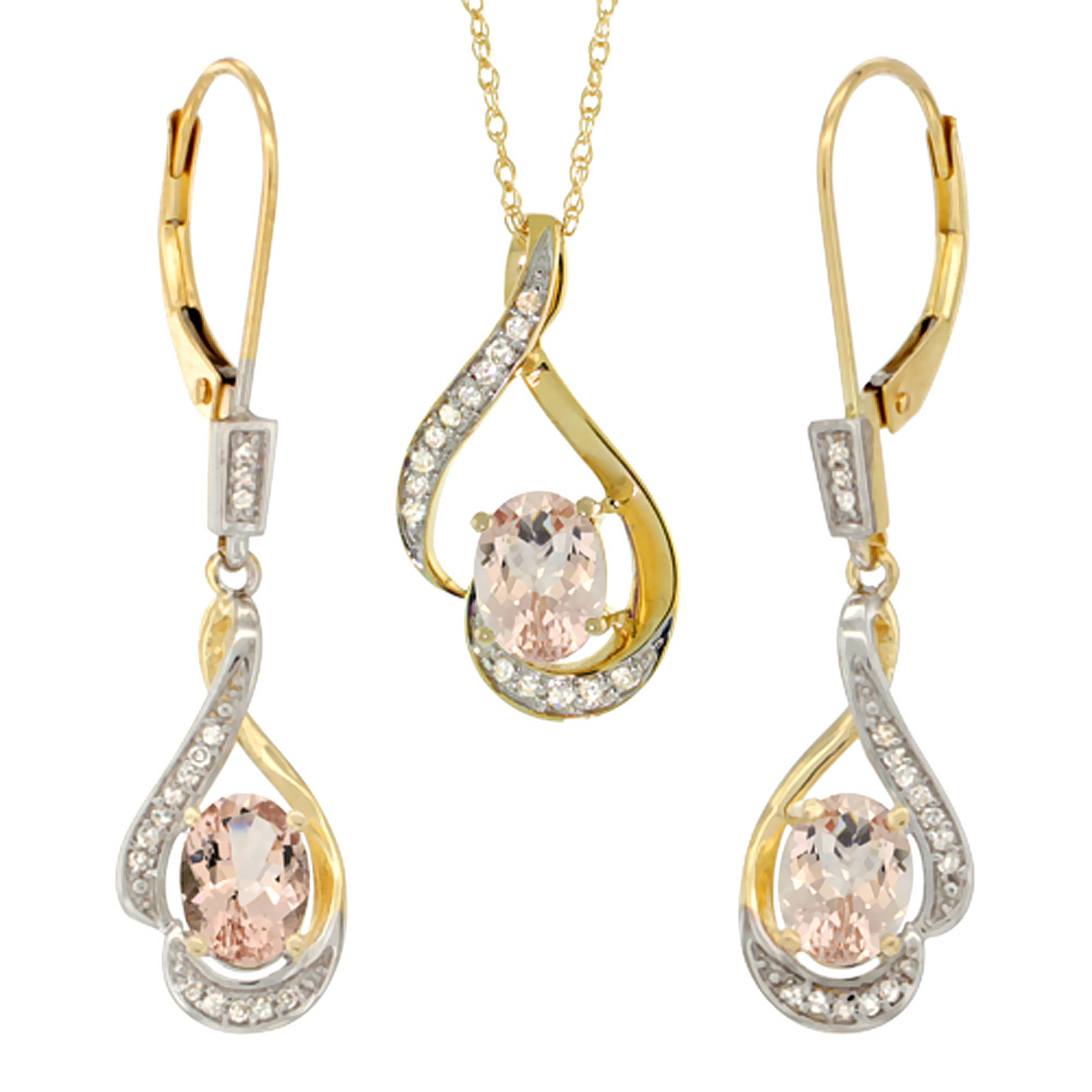 14K Yellow Gold Diamond Natural Morganite Lever Back Earrings & Necklace Set Oval 7x5mm, 18 inch long