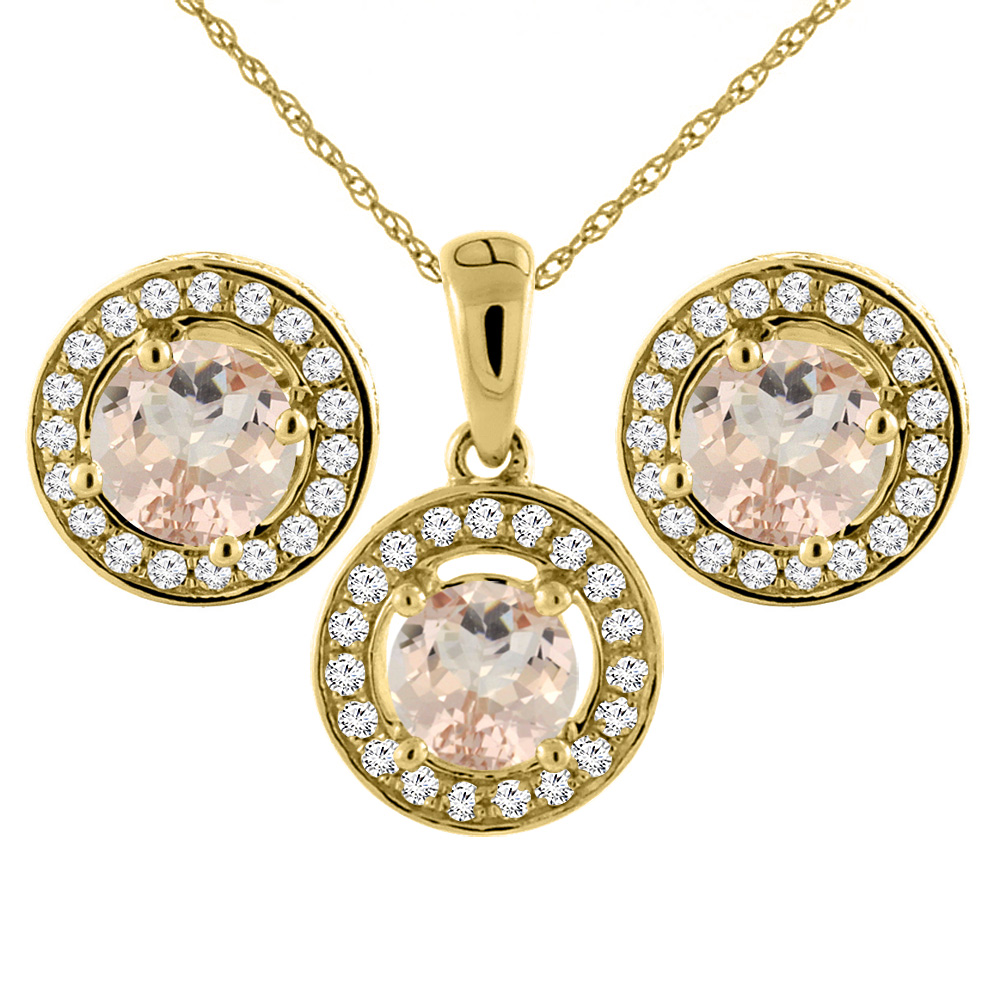 14K Yellow Gold Natural Morganite Earrings and Pendant Set with Diamond Halo Round 5 mm