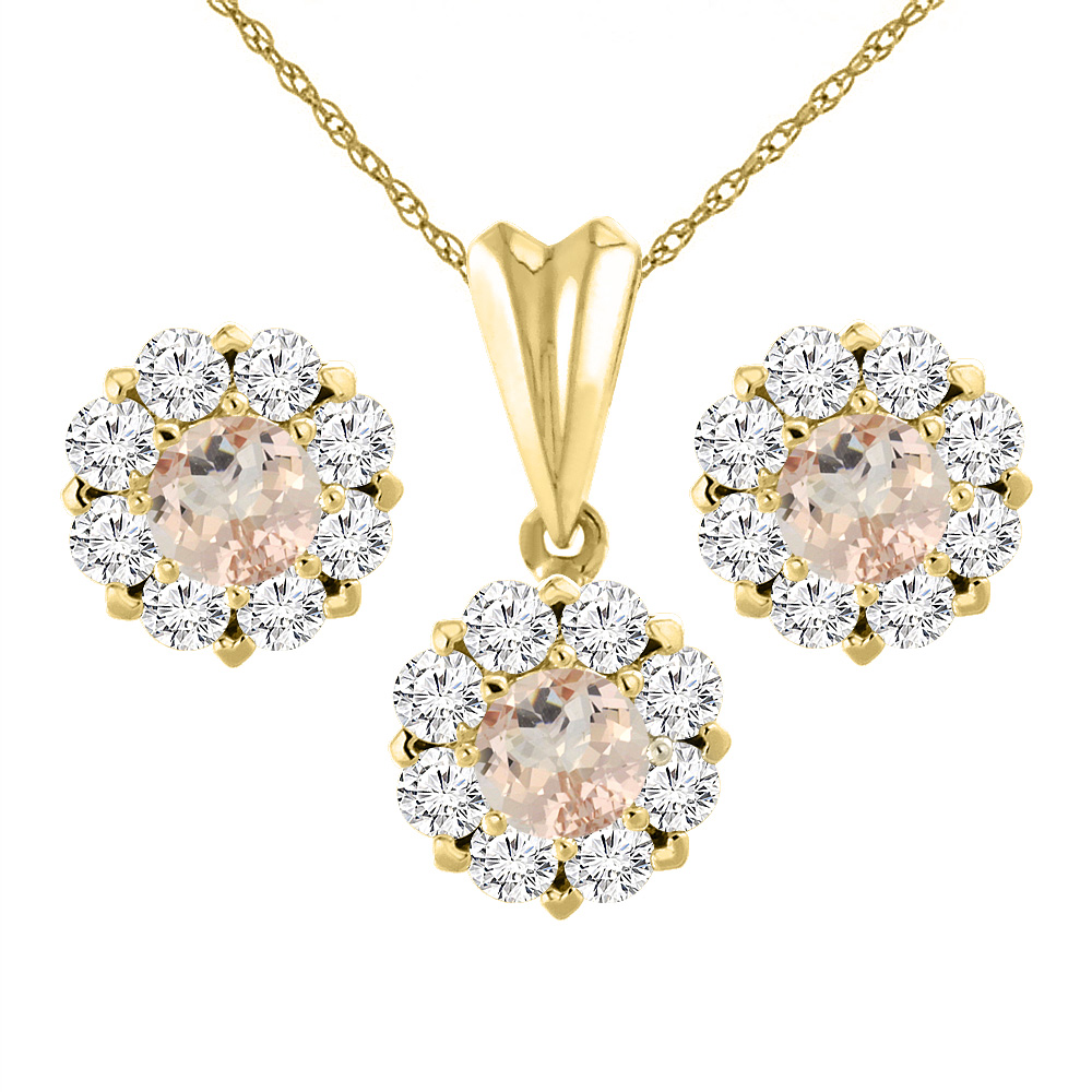14K Yellow Gold Natural Morganite Earrings and Pendant Set with Diamond Halo Round 6 mm