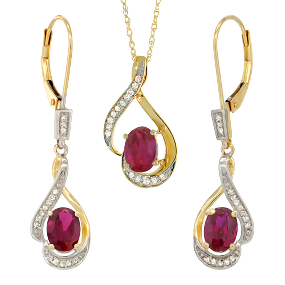 14K Yellow Gold Natural High Quality Ruby Lever Back Earrings & Pendant Set Diamond Accent
