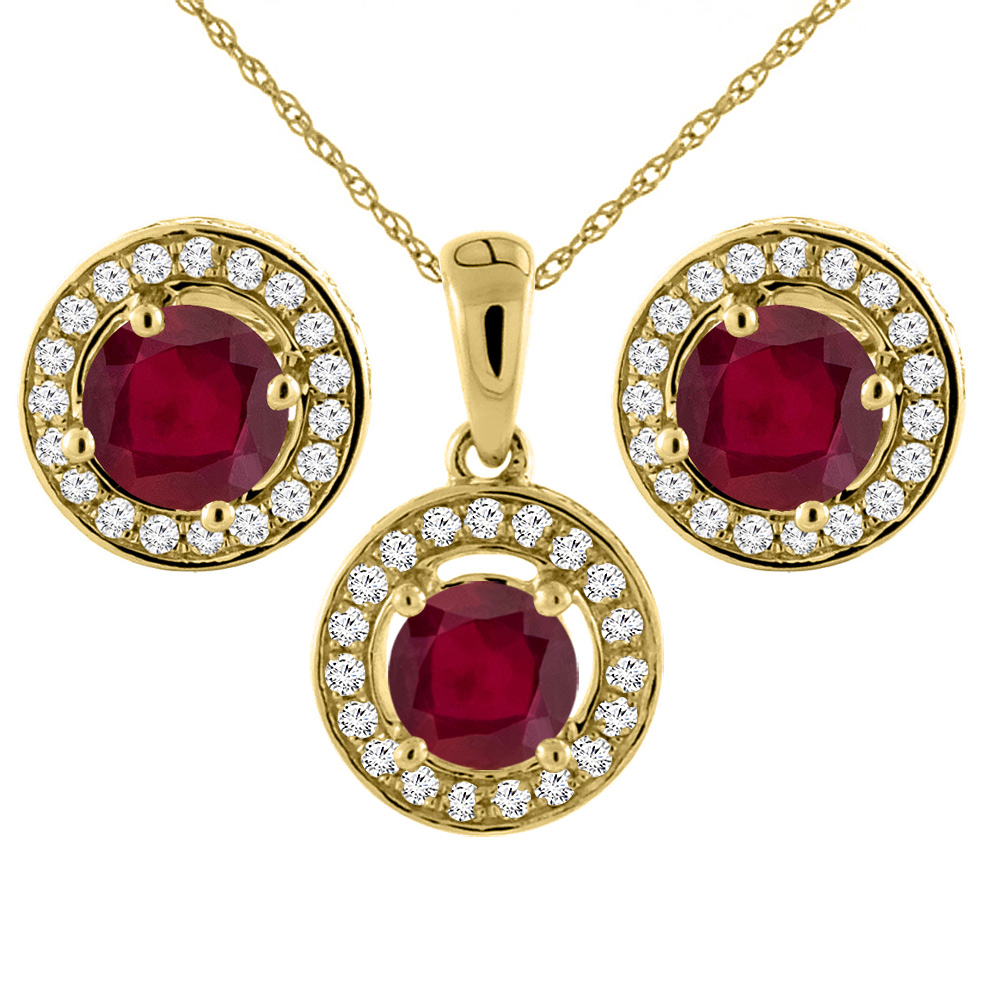 14K Yellow Gold Enhanced Genuine Ruby Earrings and Pendant Set with Diamond Halo Round 5 mm